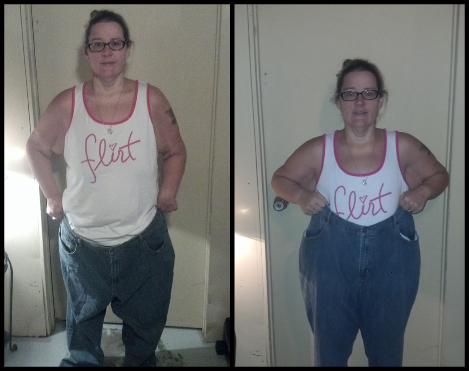"I couldn't help but throw in these photos of our ""How do you celebrate success"" Contest Winner Dawn Brell, showing off where she has been as she swims in her old jeans. Congratulations Dawn, I can't wait to run with you in January!"