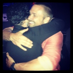 Getting a hug from Chris Powell